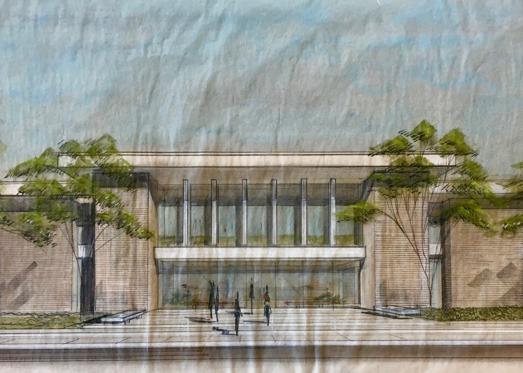 John Desmond, city hall rendering,hammond, la,John Desmond Papers, Louisiana and Lower Mississippi Valley Collections, LSU Libraries.