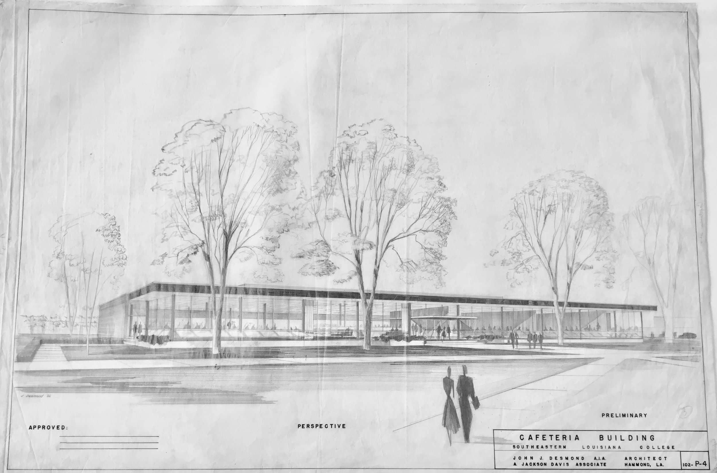 CAFETERIA   JOHN DESMOND, SELU CAFETERIA BUILDING, HAMMOND, LA, JOHN DESMOND PAPERS, LOUISIANA AND LOWER MISSISSIPPI VALLEY COLLECTIONS, LSU LIBRARIES.
