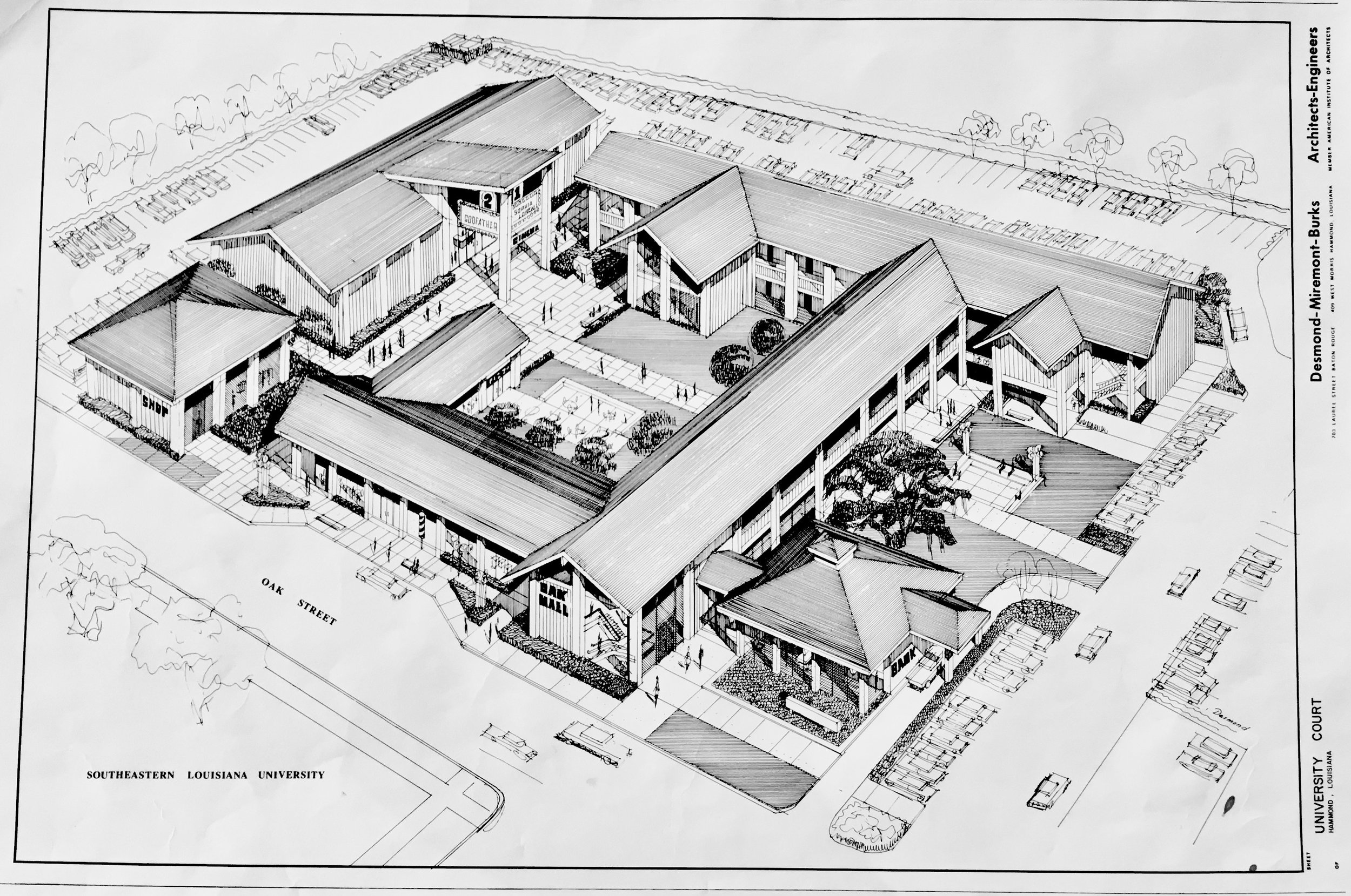 SHOPPING CENTER   JOHN DESMOND, UNIVERSITY COURT, HAMMOND, LA, JOHN DESMOND PAPERS, LOUISIANA AND LOWER MISSISSIPPI VALLEY COLLECTIONS, LSU LIBRARIES.