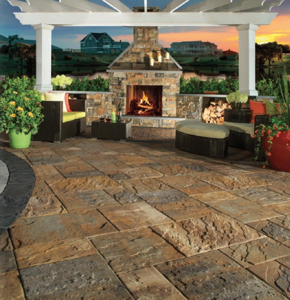 Image from Cambridge Pavers showing outdoor fireplace kits perfect for the Hudson Valley.