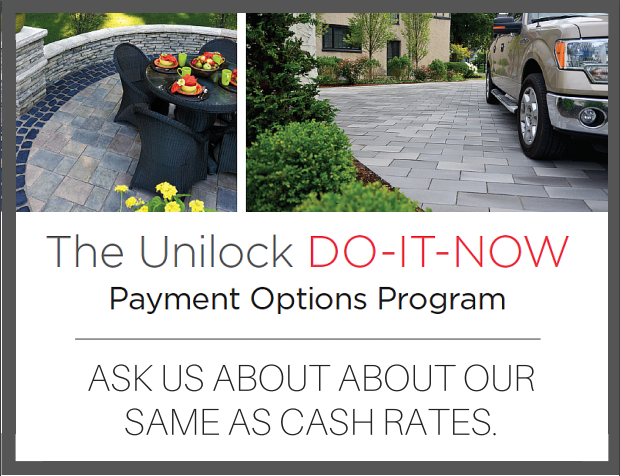 payment plan for landscaping services by Unilock
