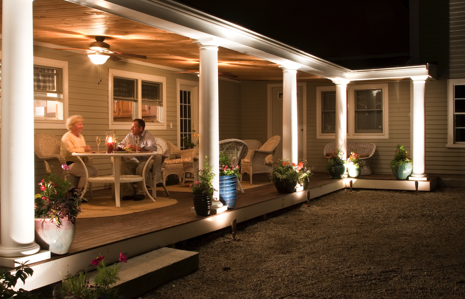 Poughkeepsie, NY landscaping professionals, Harmony Hill, design and install low-voltage outdoor lighting systems for Dutchess County residents. Photo: Cast Lighting.