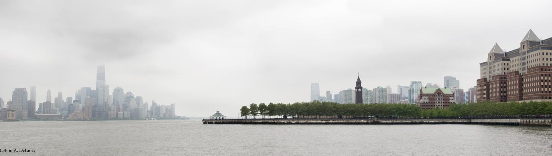 NY and NJ skyline in fog, 2012