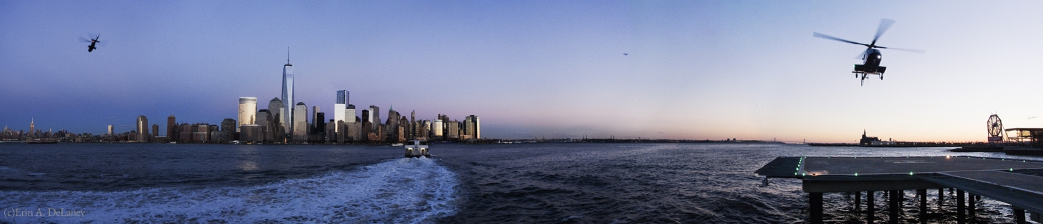 NY Harbor with Ferry Boat and Helicopters, 2013