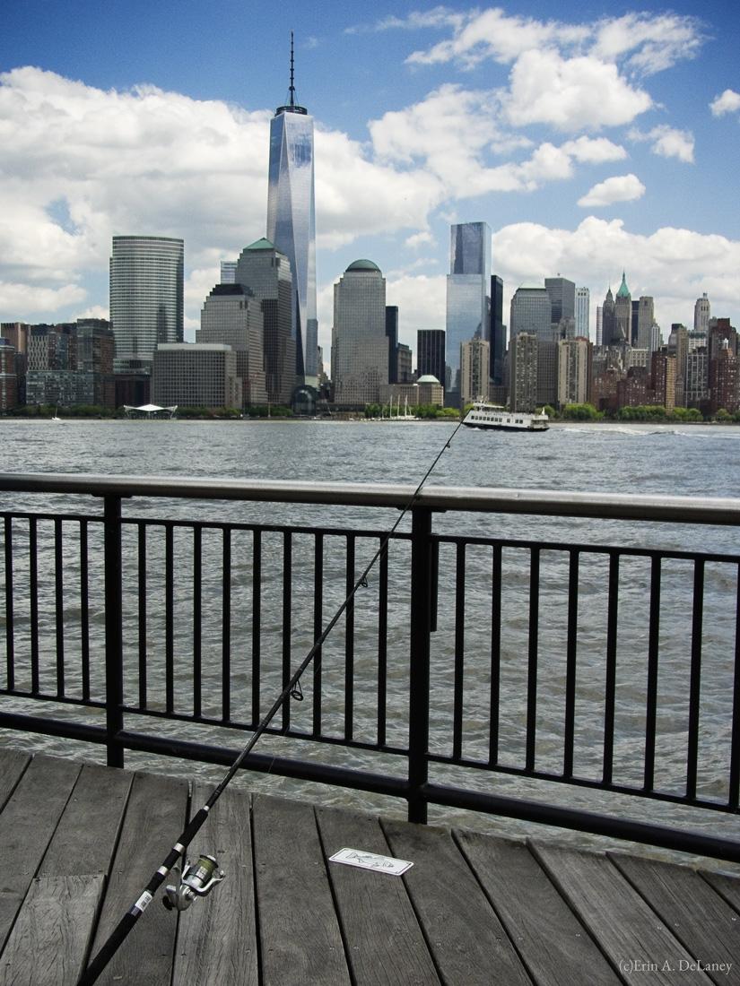 Fishing on the Hudson, Jersey City, NJ, 2014
