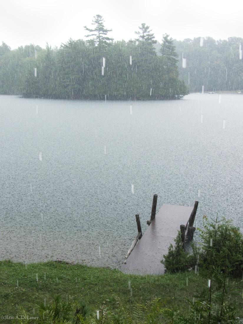 Hosmer Pond Dock in the Rain, 2012
