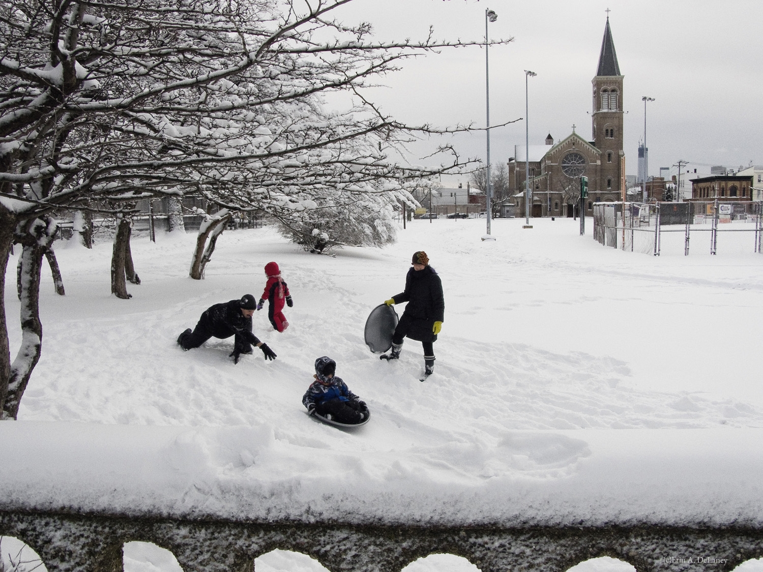 Sledding in Pershing Field Park, Jersey City, 2013