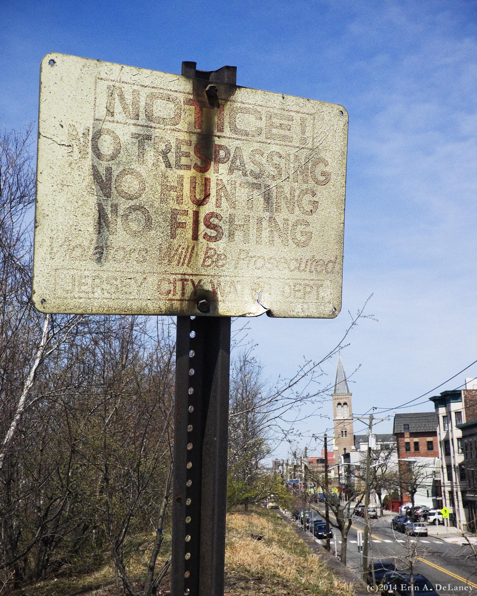 Old Warning Sign at the JC Reservoir, 2014