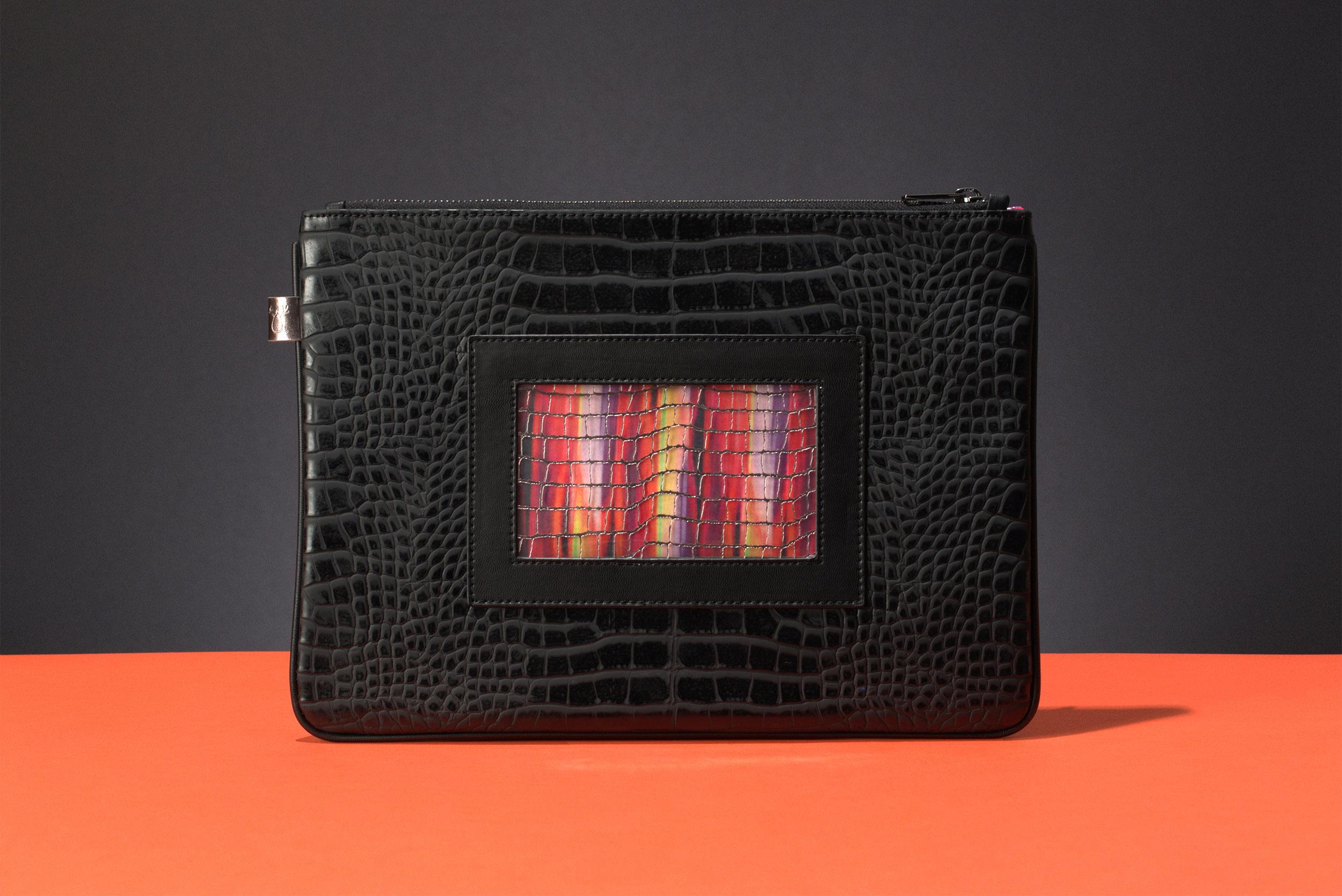 FruitenVeg-GEMA bag-luxury-vegan-leather-black-large-Ipad bag-bracelet-clutch-new-york-handbag-designer