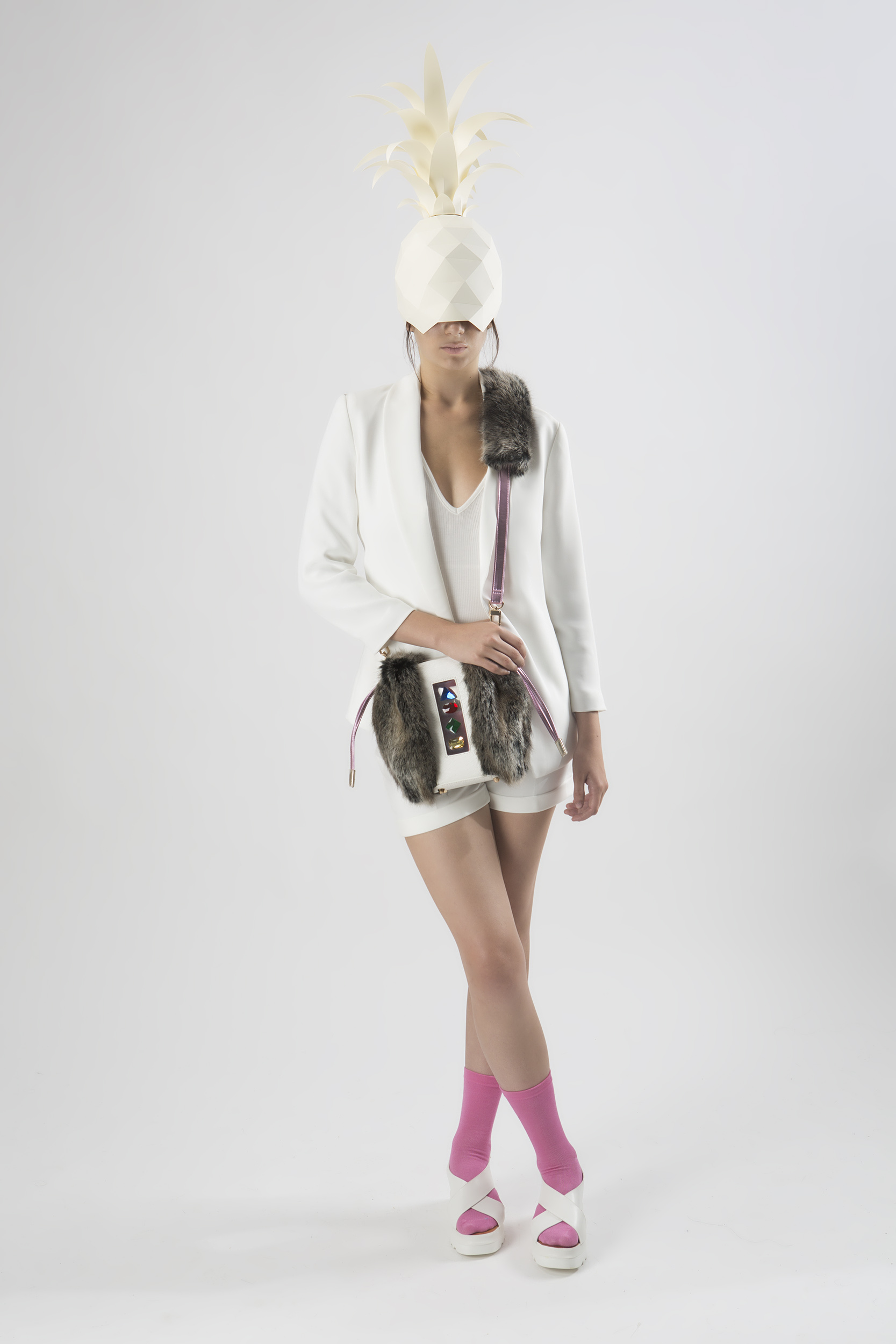 FruitenVeg-NAMI bag-never-leather-artificial-fur-vegan-leather-gray-pink-rhinestones-cross-body-bag-nyc