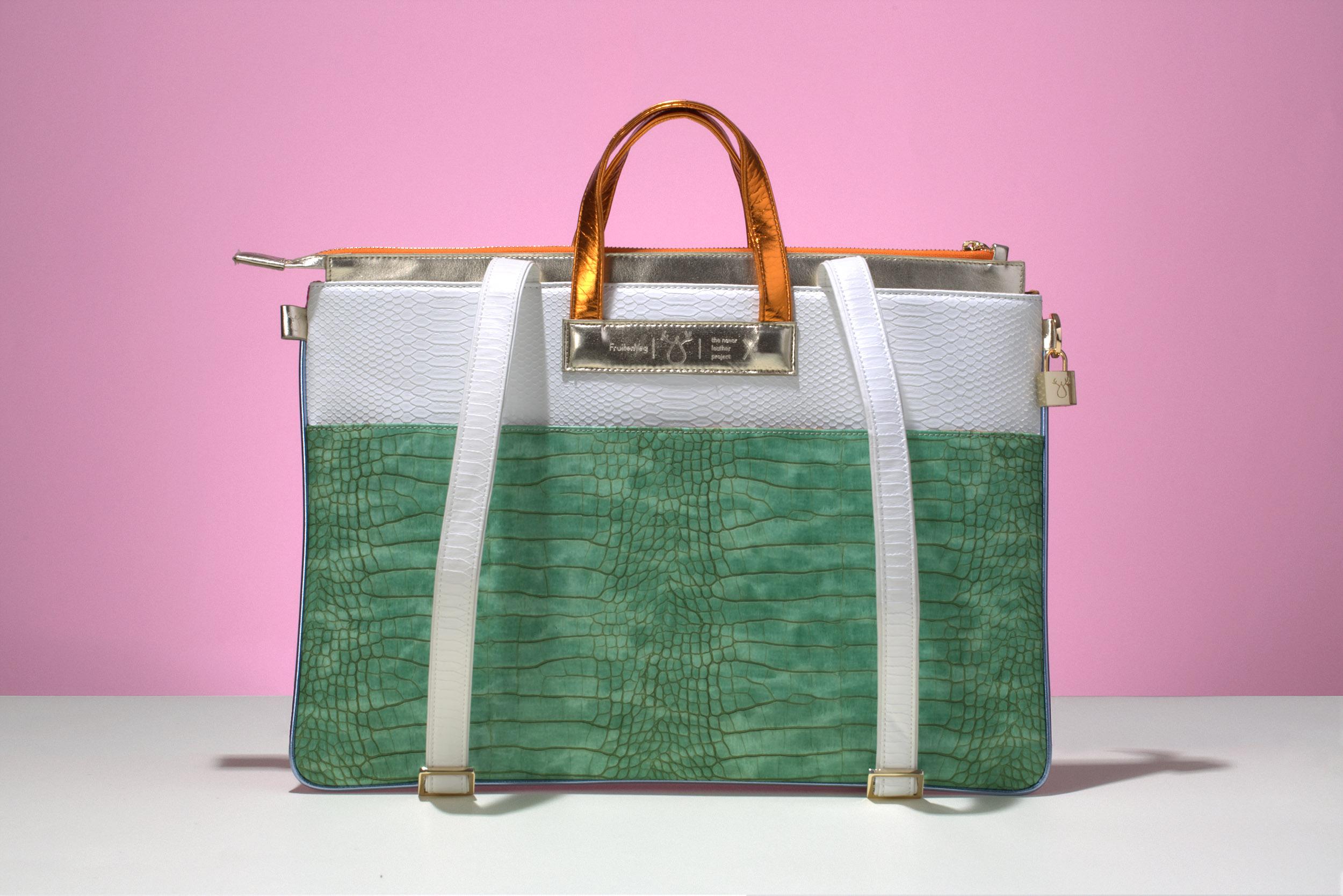 FruitenVeg-MULAYA bag-vegan-eco-imitation-leather-large-laptop-tote-bag-green-white-orange-nyc-handbag-designer