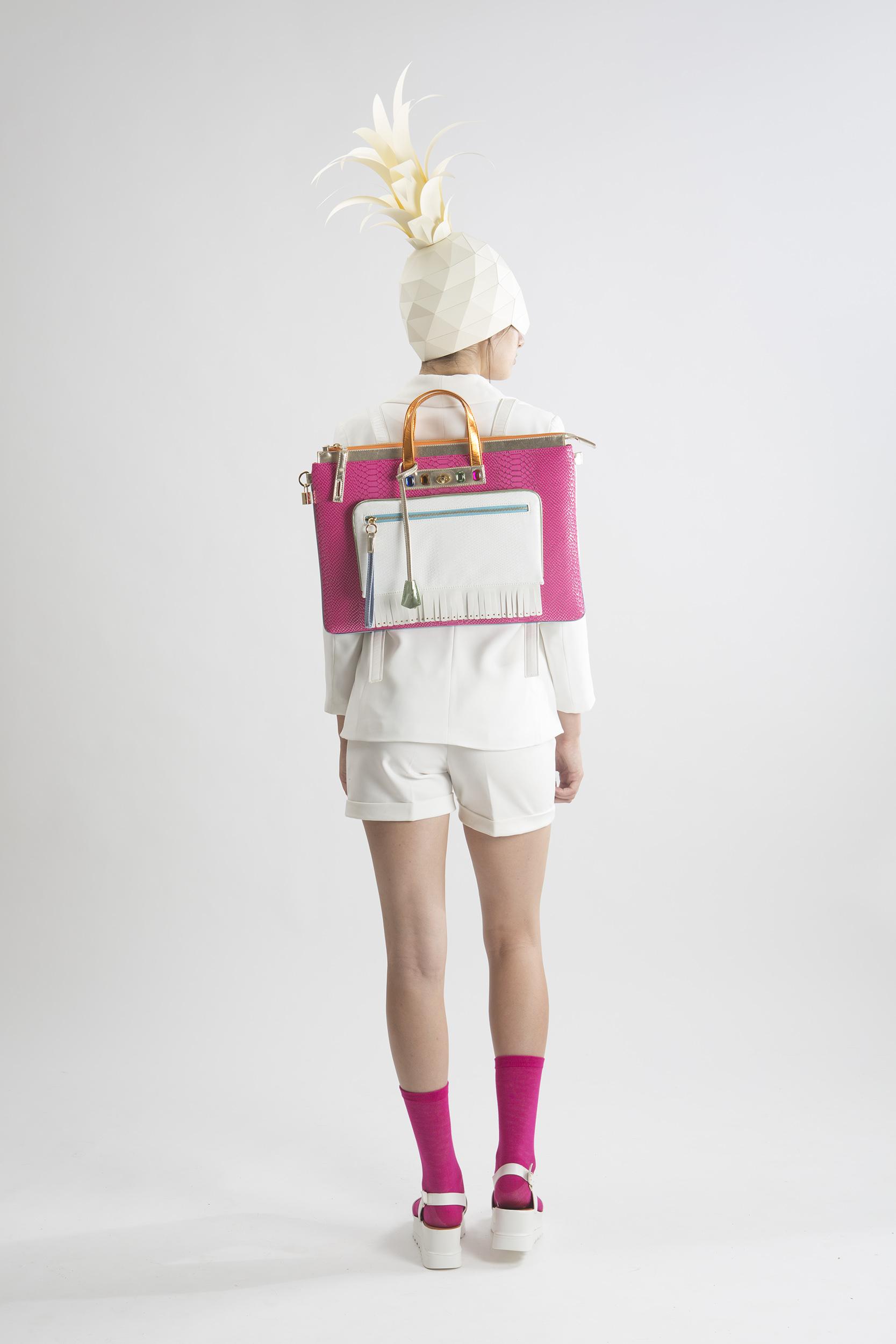 FruitenVeg-MULAYA bag-vegan-eco-imitation-leather-large-laptop-bag-pink-white-orange-rhinestones-nyc-handbag-designer