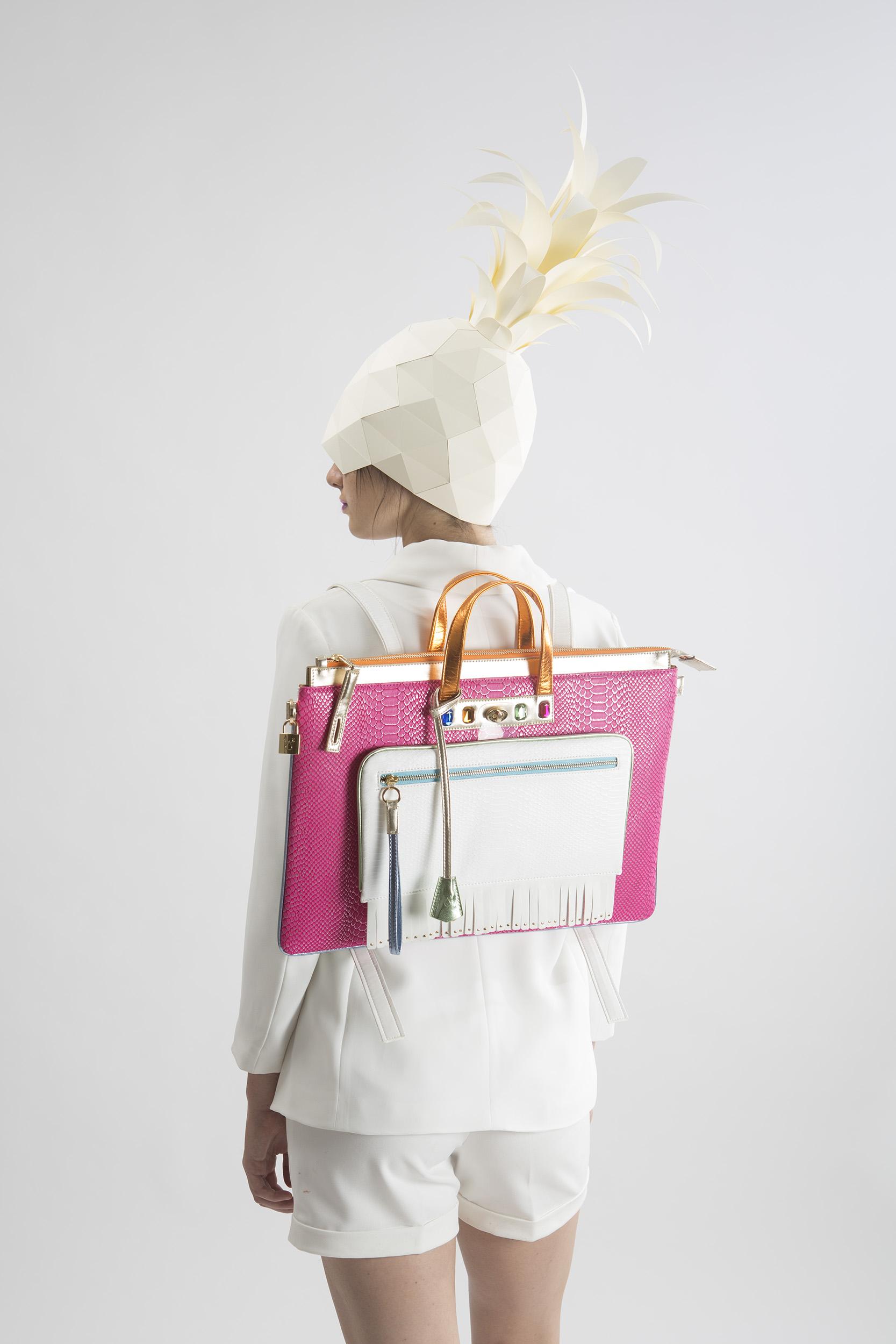 FruitenVeg-MULAYA bag-eco-vegetarian-leather-faux-exotic-skins-large-laptop-backpack-pink-white-orange-nyc-handbag-designer