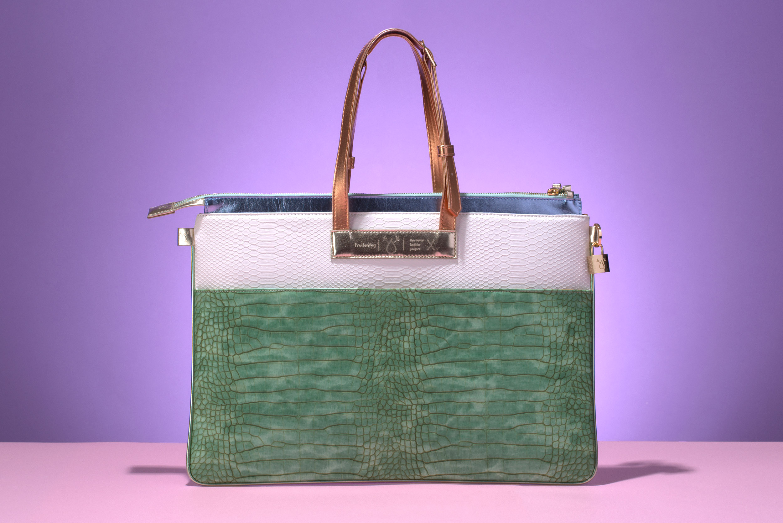 FruitenVeg-MULAYA bag-eco vegan leather-croc-embossed-big-luxury-laptop-handbag-green-white-nude-nyc-handbag-designer