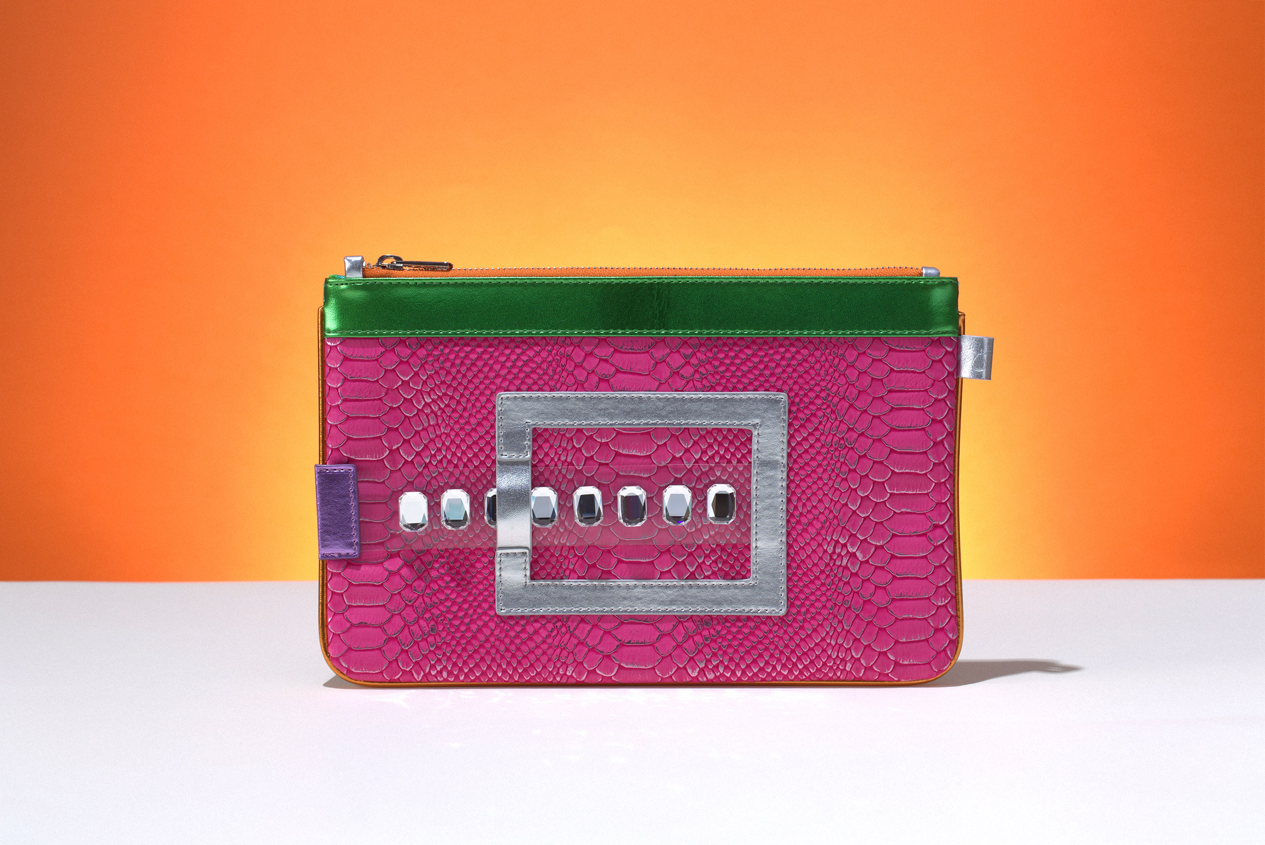 FruitenVeg-GEMINI bag-never-leather-vegetarian-mini-Ipad-bracelet-clutch-fuchsia-green-silver-bag