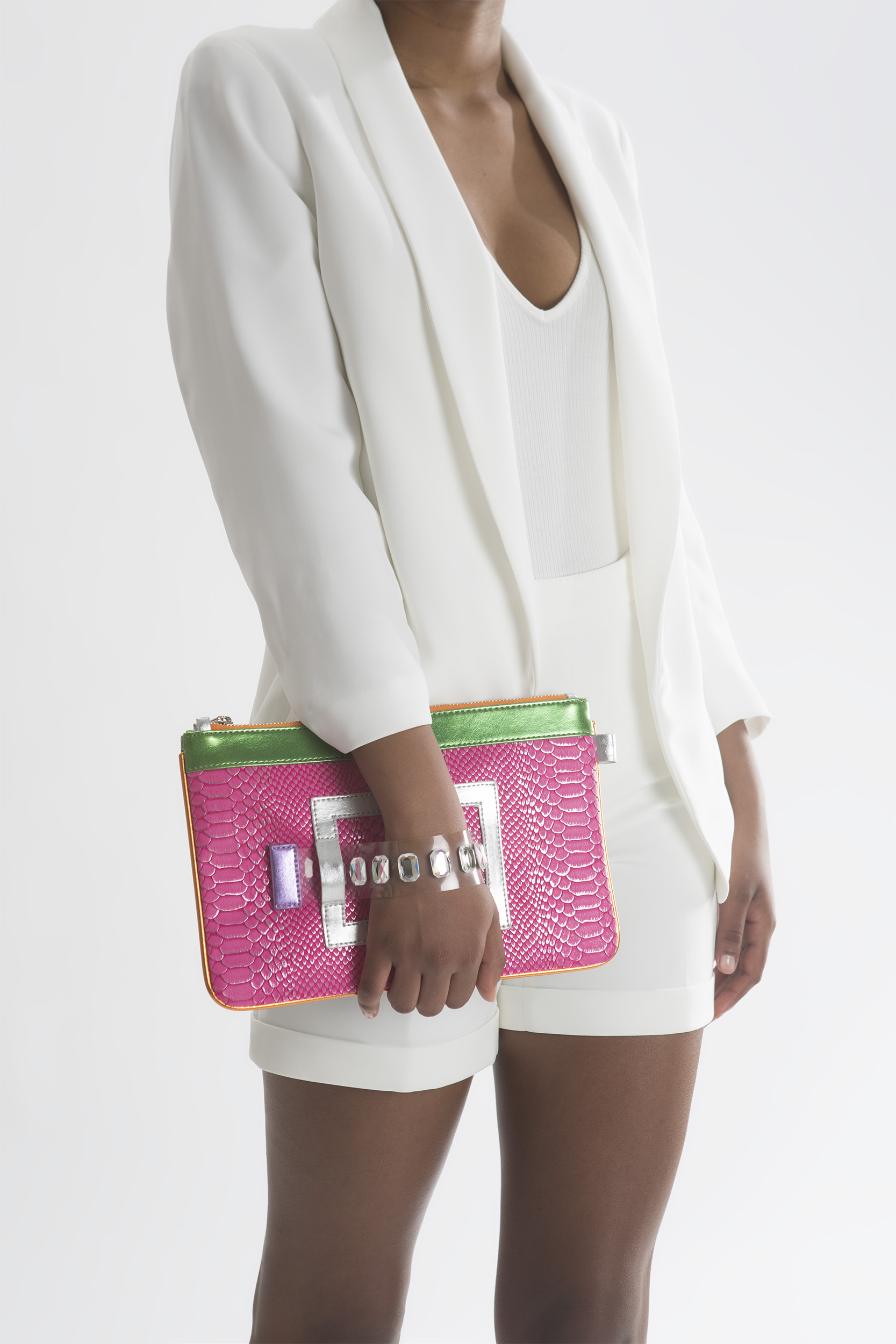 FruitenVeg-GEMINI bag-vegan-imitation-leather-mini-tablet-bracelet-clutch-fuchsia-green-silver-handbag