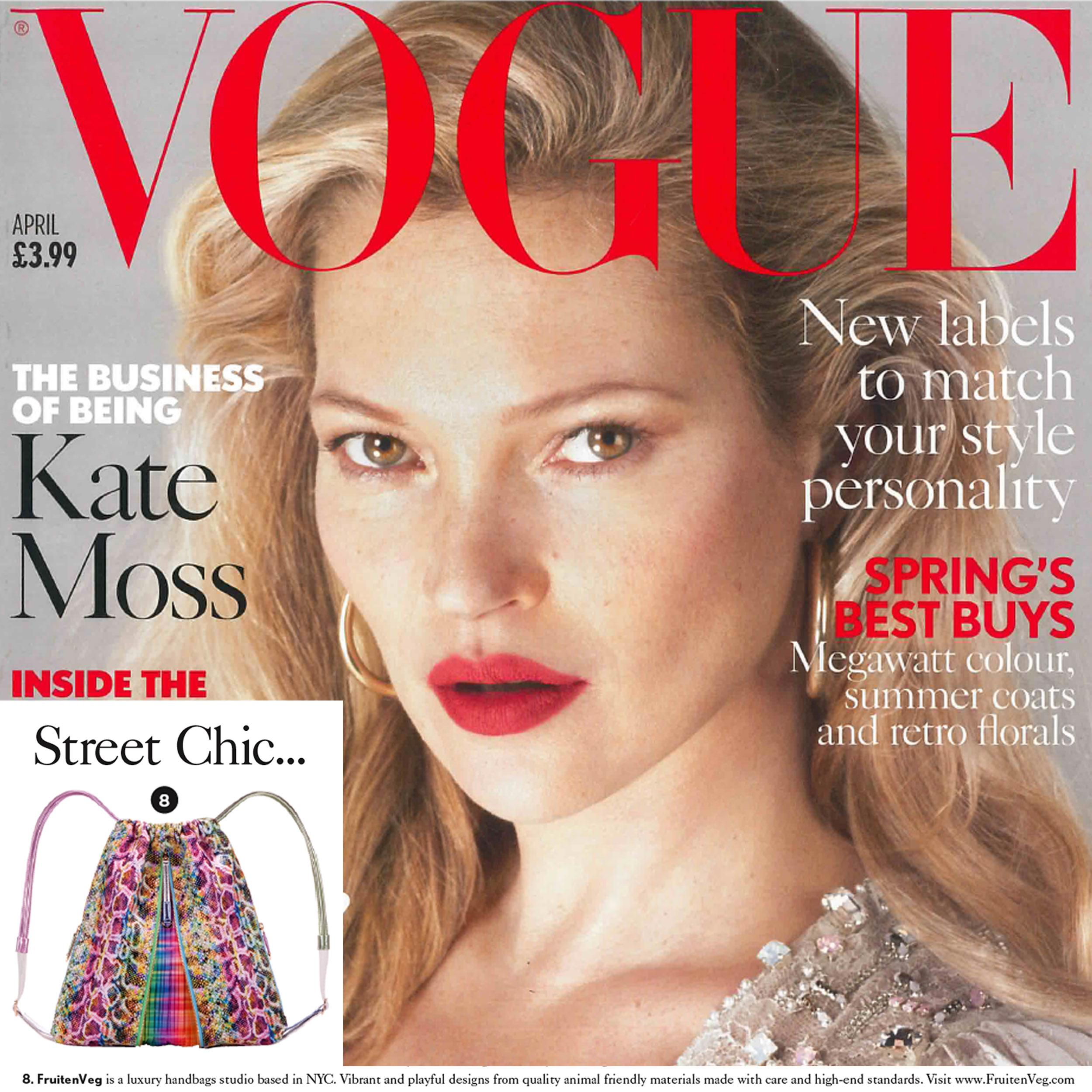 FruitenVeg Mishi vegan leather backpack in British Vogue April issue