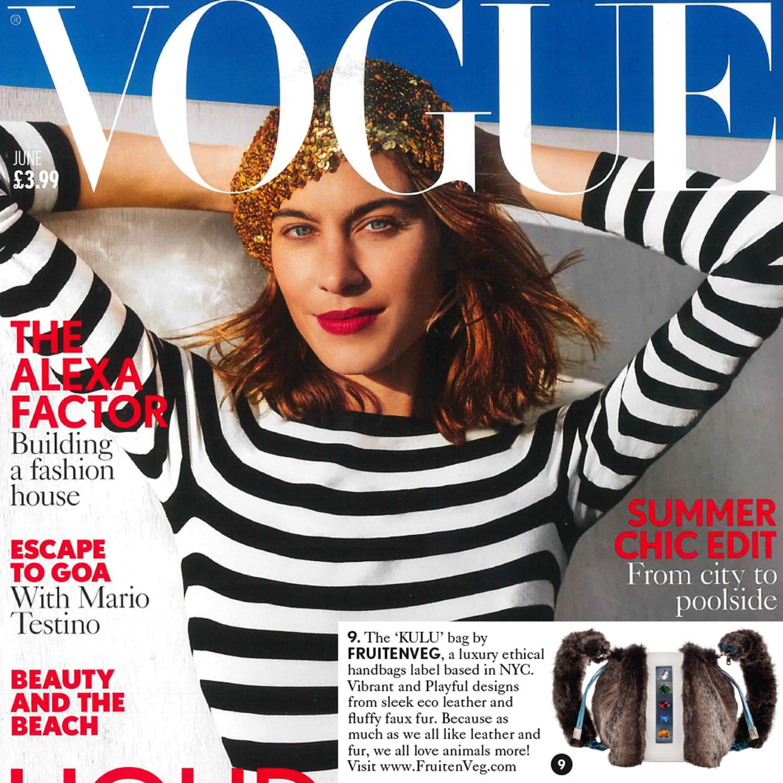FruitenVeg KULU faux fur satchel in British Vogue June issue