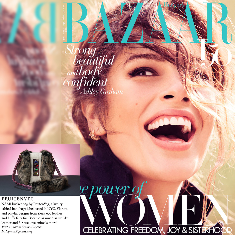 FruitenVeg NAMI faux fur satchel in Harper's Bazaar July issue