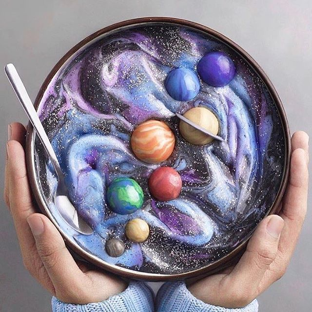Galaxy soup💫🌚 by @naturally.jo via @thecolorshift #neverleather #neverfur @fruitenveg #galaxy #stars #planets #veganart