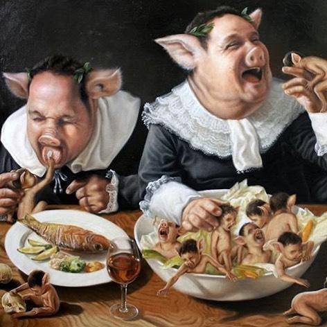 Happy meal 👯♂️🐽👯♀️ by @joseluislopezgalvan #veganart #veganartist #happymeal #neverleather #neverfur @fruitenveg