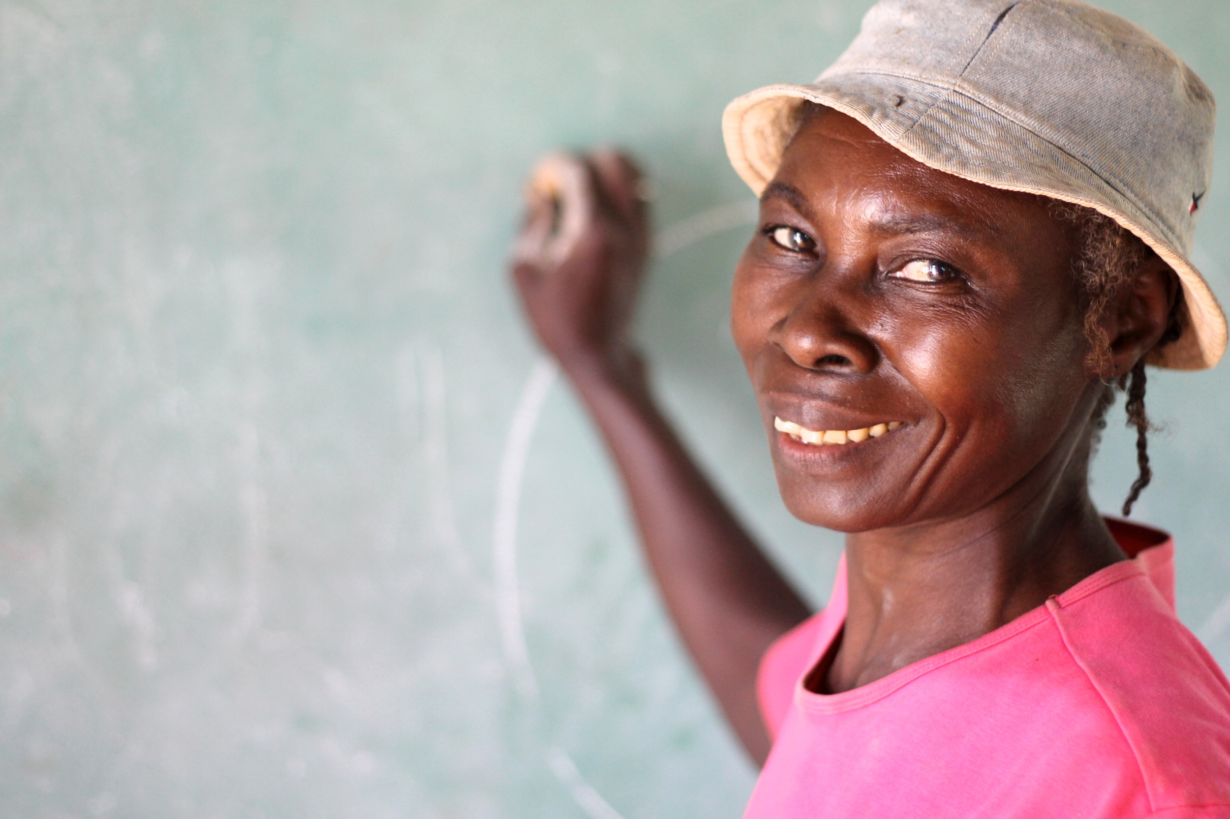 Verose, age 48, is attending school for the first time.