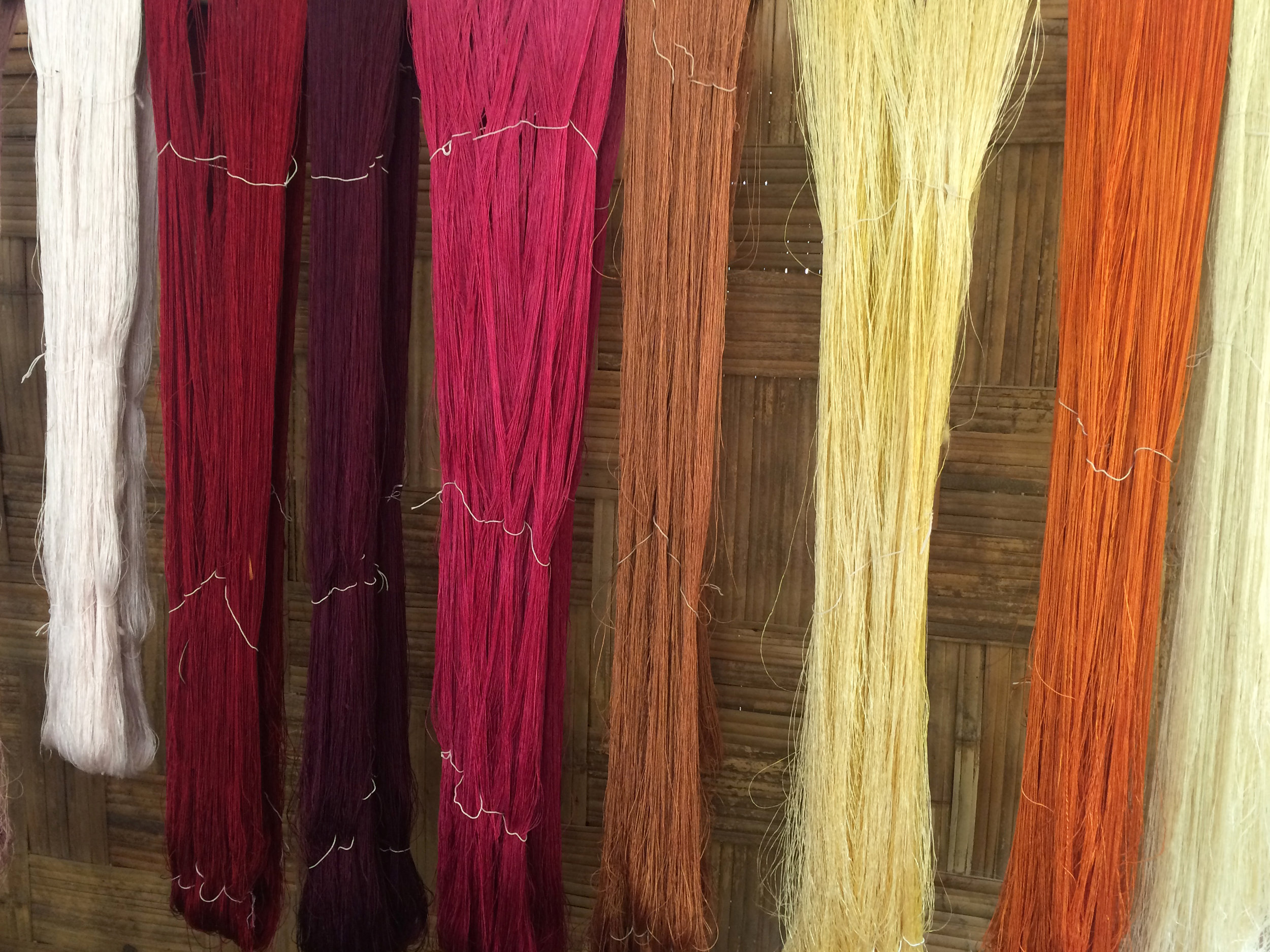 Silk threads dyed with natural dyes