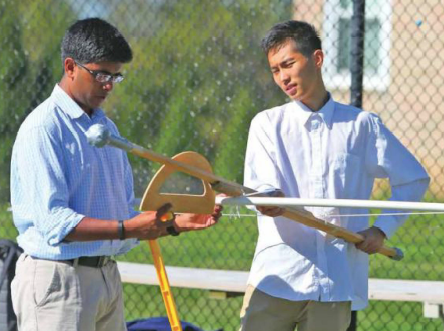 Physics goes outside for a hands-on lesson. A very normal matter at Middleburg Academy.