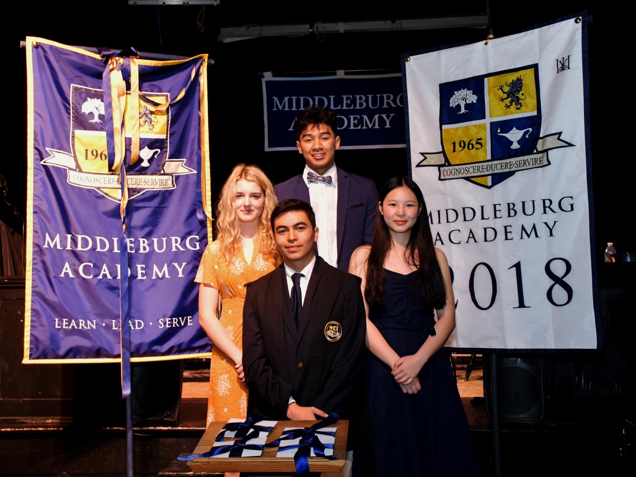 The Prefects: Lana Bennett, Master Prefect; Axel Arellano Head Prefect; David Penney, Sergeant-at-Arms; Coco Chen, Secretary