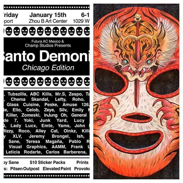 Chris, @killabunzz, will have a #handpainted #luchador #mask on display at @zhoubartcenter in #chicago on January 15th, the show will be from 6pm to 10pm. Make sure you stop by and talk to him.  #luchadormask #tiger #art #artist #artgallery #show #acrylic #wood #wooden #woodenmask #orange #paint #painting