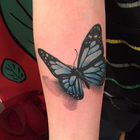 Chris, @killabunzz, did this #little #banger. A few days ago. Don't forget to stop by #dinosaurstudiotattoo and book an #appointment with him before he gets #bookedup.  #butterfly #insect #butterflytattoo #insecttattoo #arm #armtattoo #forearmtattoo #realistic #realistictattoo #blue #bluebutterfly #girly #girlytattoo #tat #custom #customtattoo #waukeganillinois #waukegan #lakecountyil #chicagotattooartist #chicago #lakemichigan #navy #greatlakesnavalbase