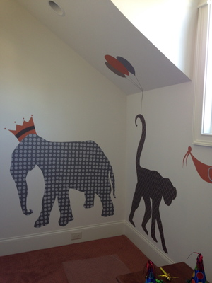 patterned zoo animals mural at kings' chapel parade of homes 2014