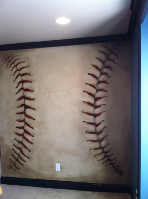 boys' room - baseball mural