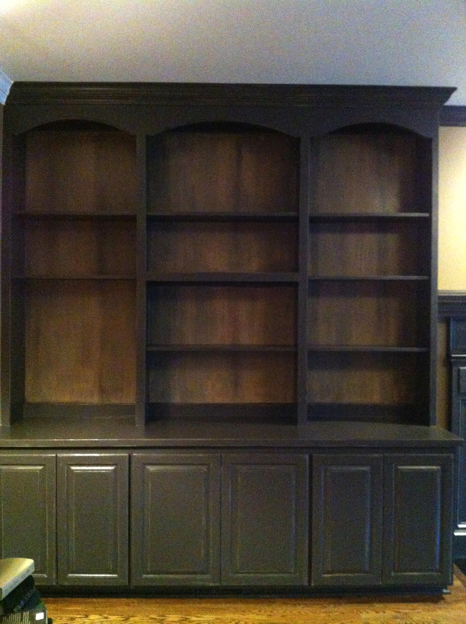 Distressed Bookcases with Aged Backwalls