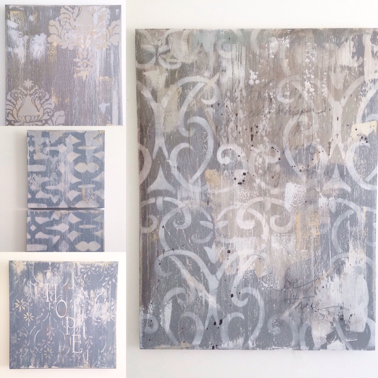 Heather S. Thompson Fine Art distressed stencil paintings as seen at The City Farmhouse show.