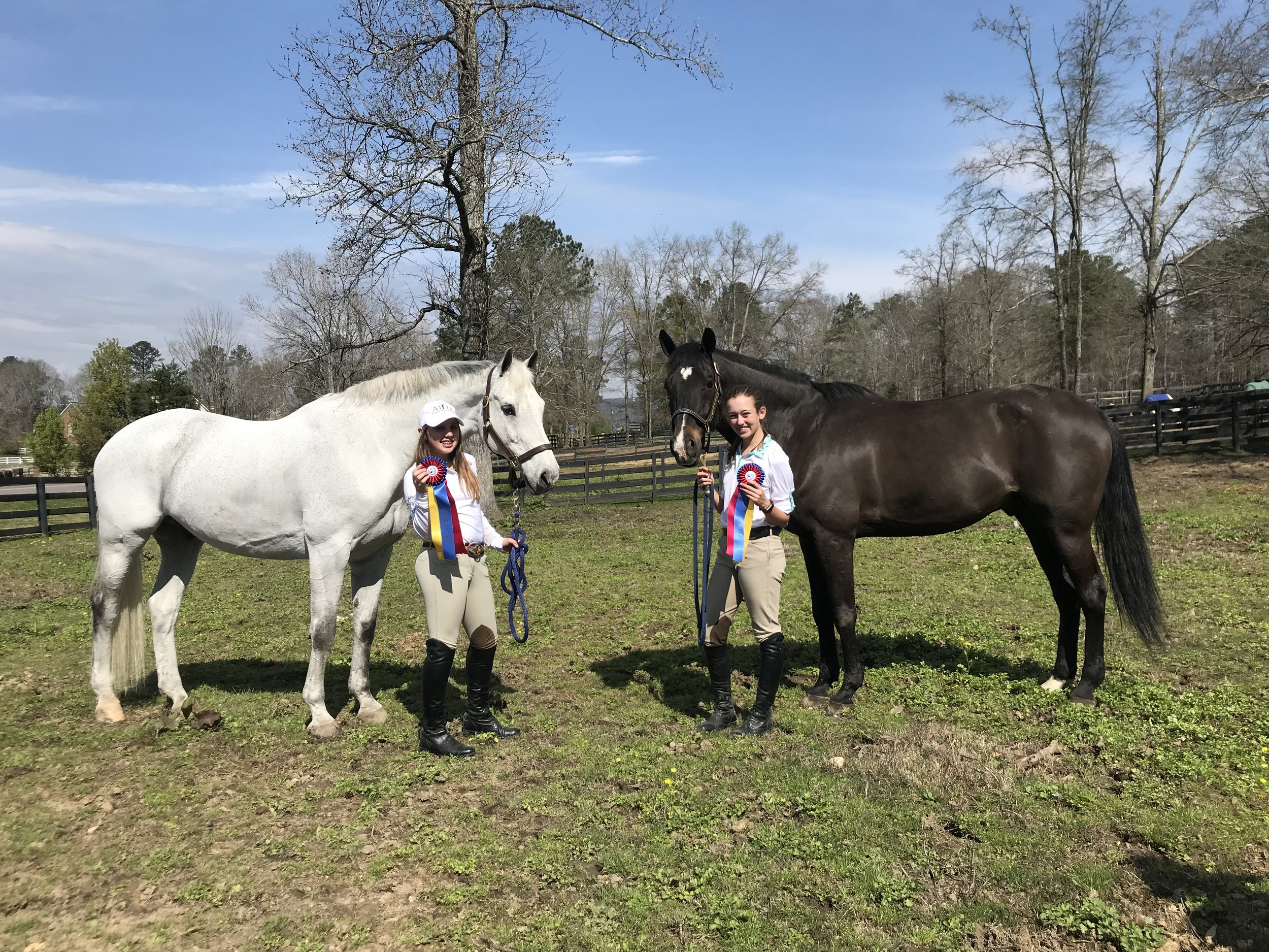 """Emma Grace and """"Wonder"""" with Sydney and """"Dutch,"""" posing with their ribbons. Wonder and Dutch decided they were pasture buddies on this trip."""