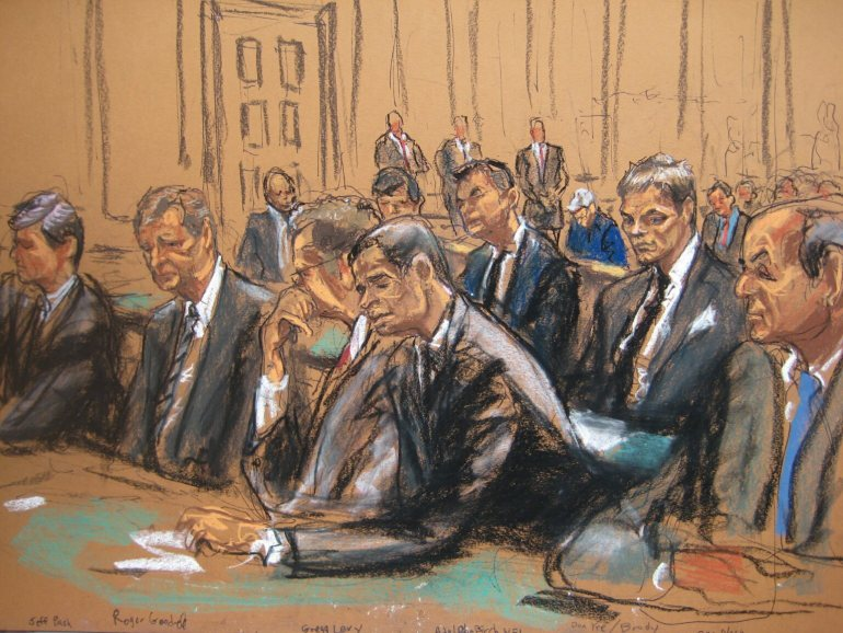 A  now-famous  courtroom sketch at a hearing in federal court