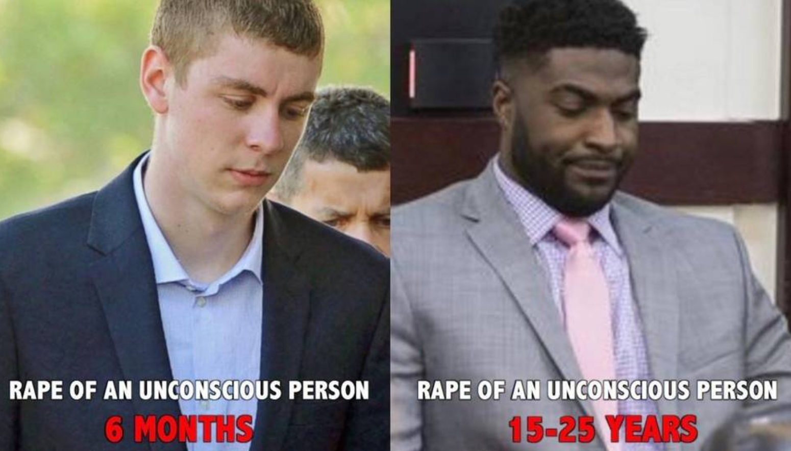 Popular memes like this one  compare Brock Turner and Cory Batey, a former Vanderbilt football player, who is expecting 15-25 years in prison for a similar crime.