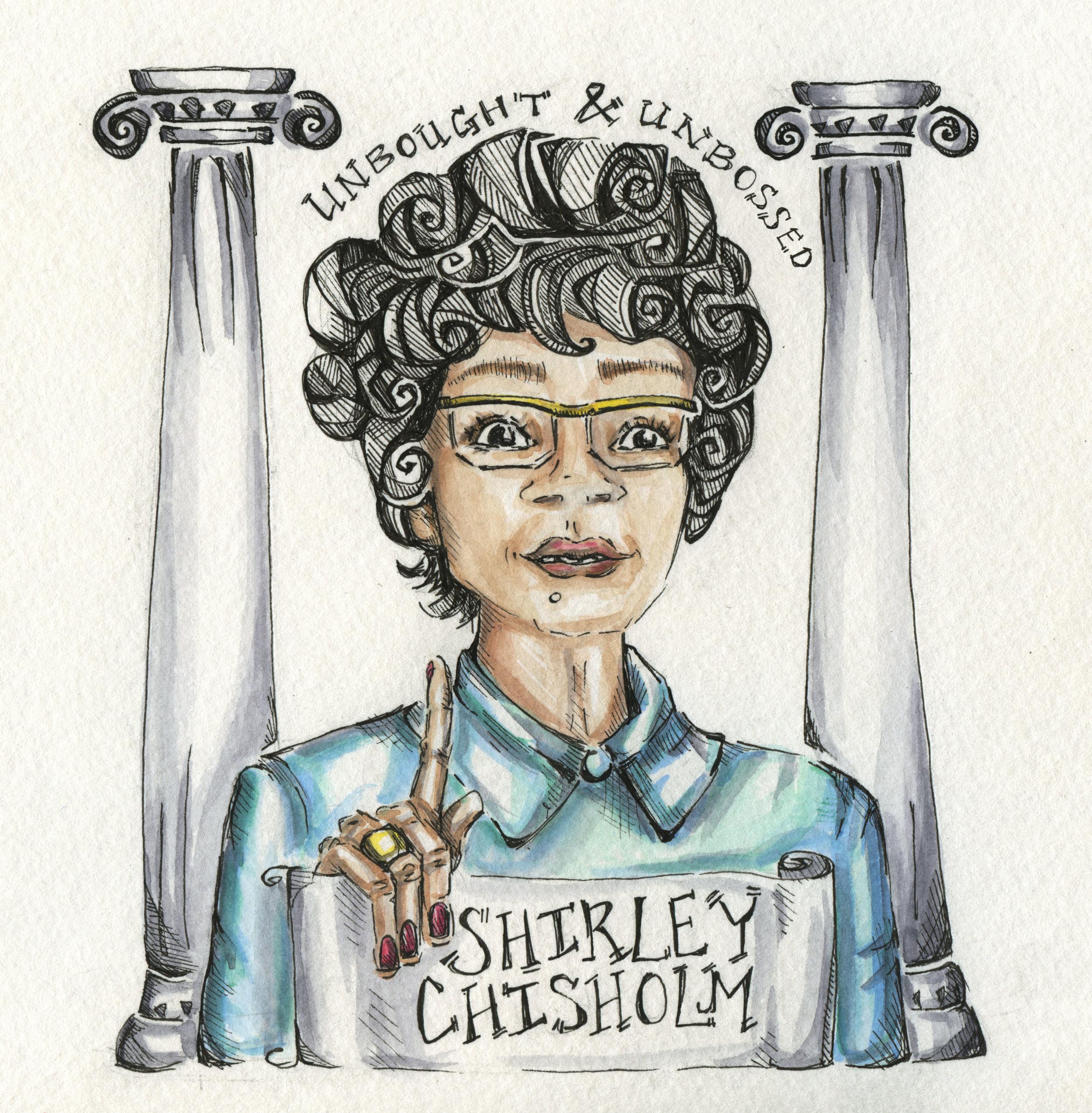Shirley Chisholm, by illustrator and Short Version contributor  Luna Adler .