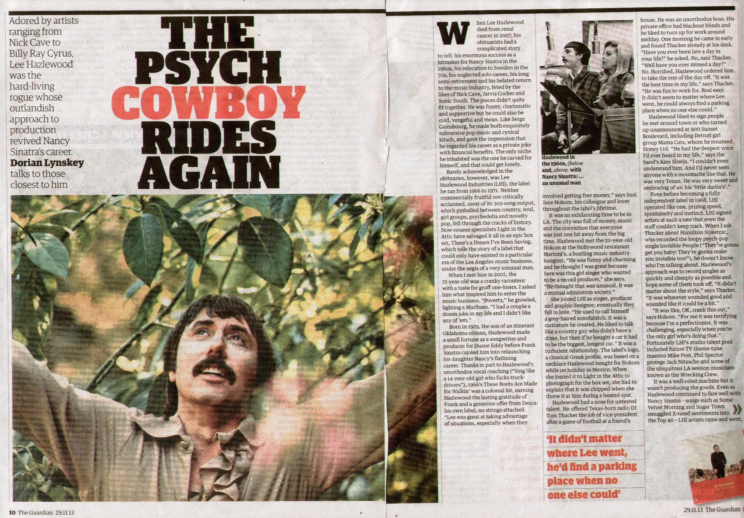 Lee Hazlewood There's A Dream I've Been Saving: Lee Hazlewood Industries,  The Guardian ,  pt 1  London Nov. 2013