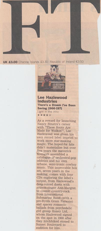 Lee Hazlewood There's A Dream I've Been Saving: Lee Hazlewood Industries,  The Financial Times , Dec. 2013