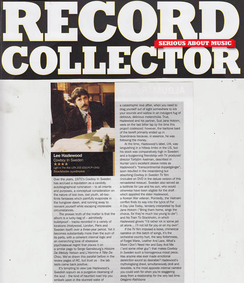 Lee Hazlewood - Cowboy In Sweden.  Record Collector,  Dec. 2016