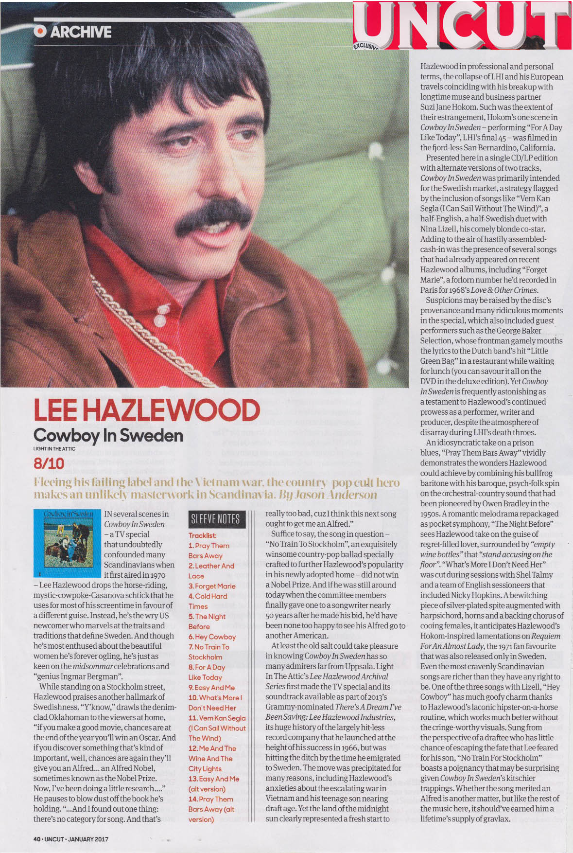 Lee Hazlewood - Cowboy In Sweden.  Uncut , Jan. 2017
