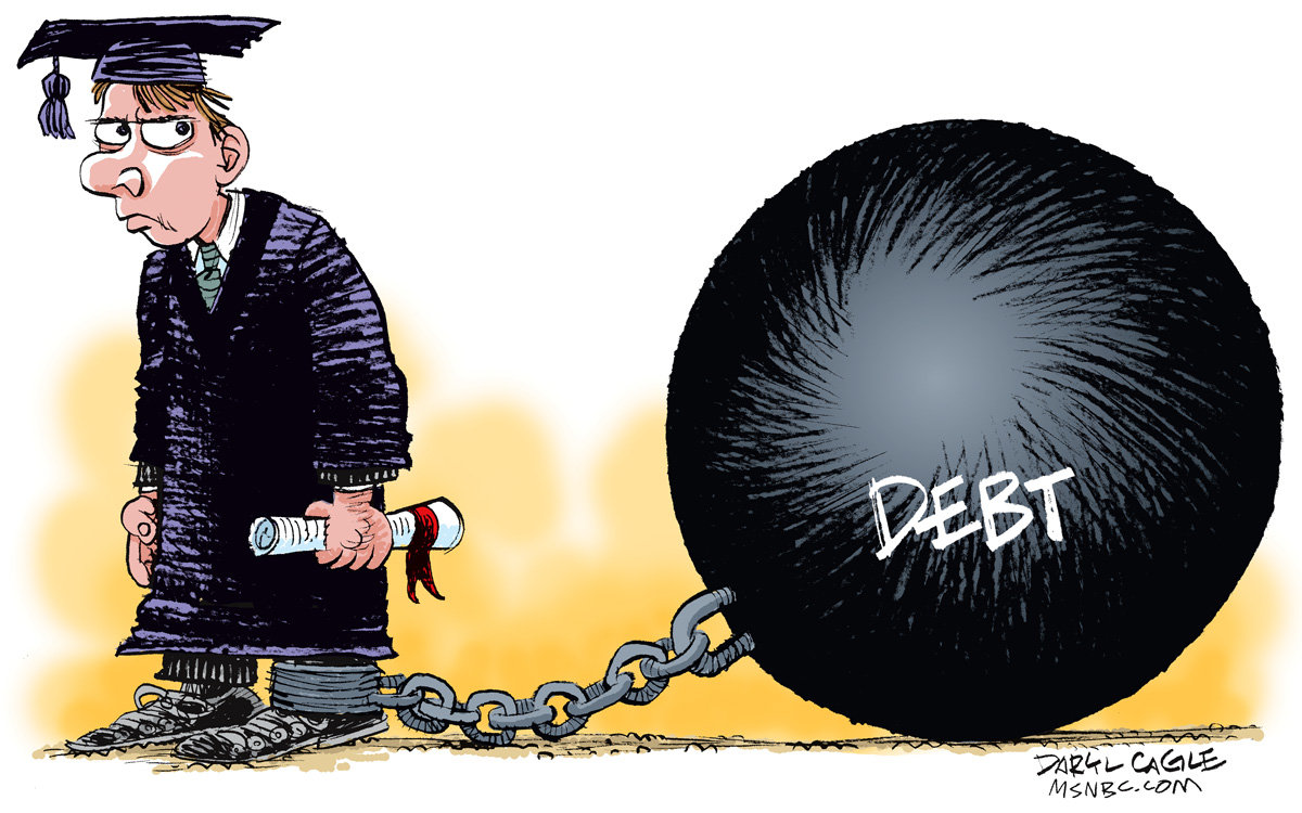 Student loan debt illustration: ball and chain