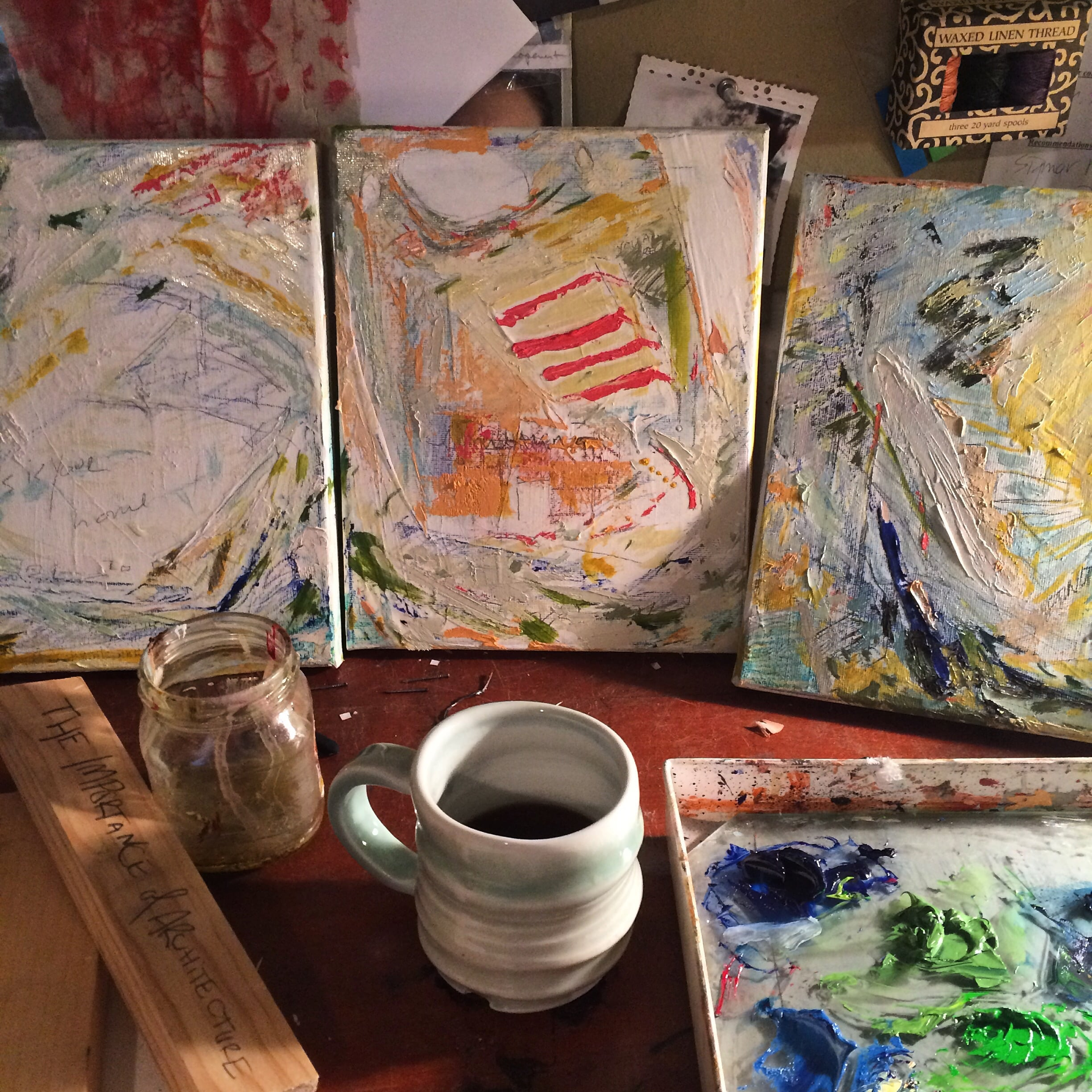 Many mornings look like this: a black coffee and a full palette. By now, the piece is nearly finished. This photo was taken during the last session I spent working with these little guys.