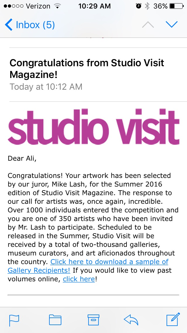 """Screenshot of my acceptance into Studio Visit's forthcoming issue. Read up a bit abt this juror and apparently he was fired from his job for a """"blood sugar episode"""" where he yelled at his staff and threw his cellphone which then hit an employee 😳😬😬😬"""