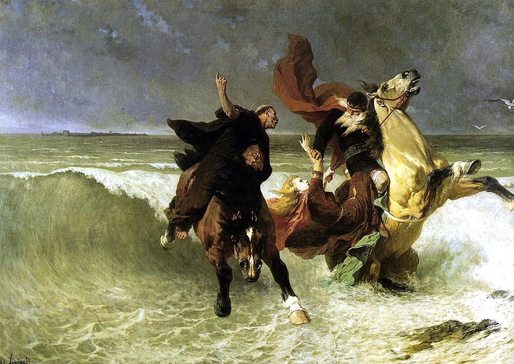 Évariste Vital Luminais,  La Fuite de Roi Gradlon  (1884). King Gradlon of Ys tries to save his daughter Dahut as the waters drown the city.