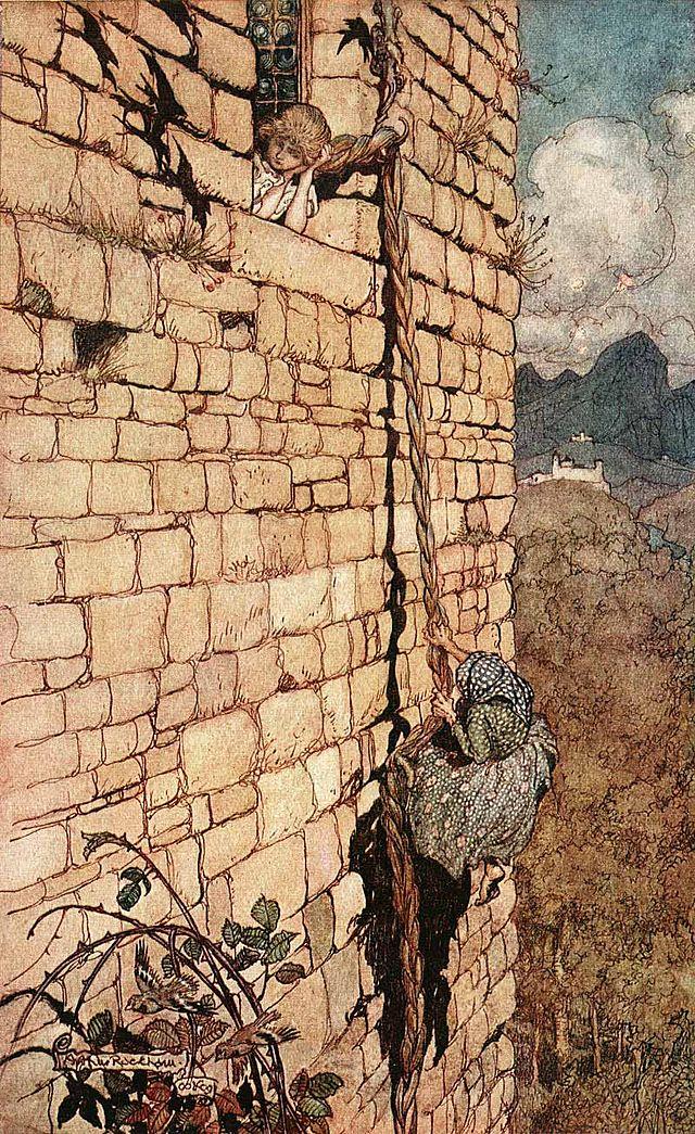 Nobody puts baby in a tower. Arthur Rackham illustration