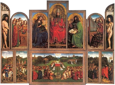 Jan van Eyck,  Ghent Altarpiece  (1430-1432). An excellent example of a complex polyptych, a triptych of many-paneled wings.