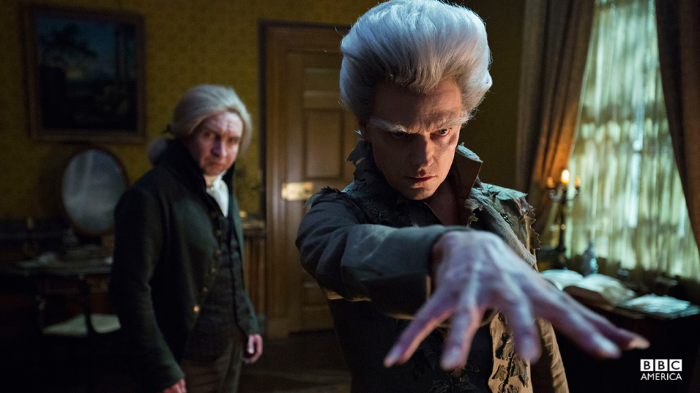Marsan in the backgroundas Mr. Norrell and Marc Warren as the Gentleman with the Thistle-Down Hair.